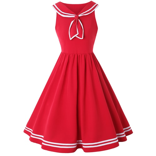 50s Nautical Flared Dress Red Bow - Ma Penderie Vintage