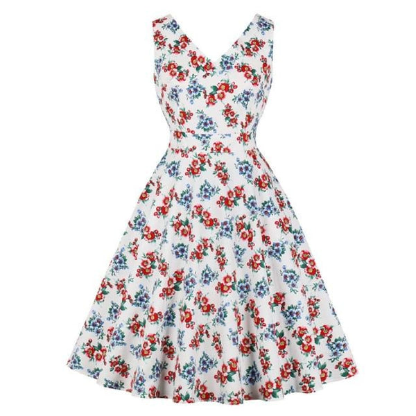 60s Retro Swing Dress Spring Floral Red - Ma Penderie Vintage