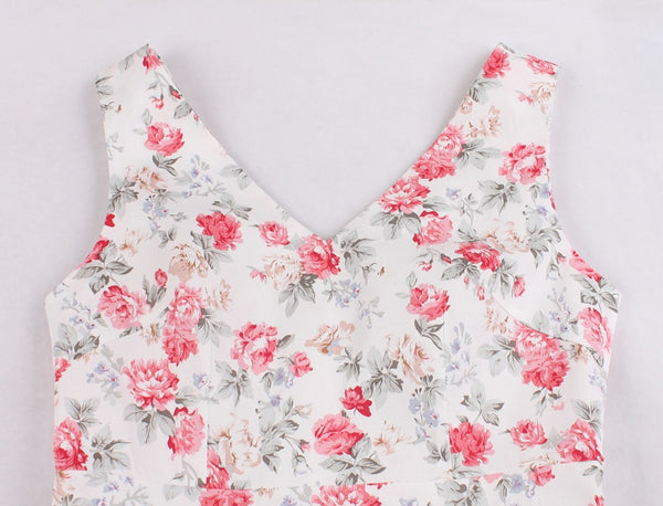 60s Pink Floral Spring Retro Swing Dress - Ma Penderie Vintage