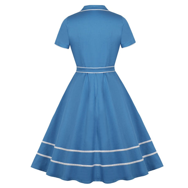 60s Retro American Diner Day Dress Blue - Ma Penderie Vintage