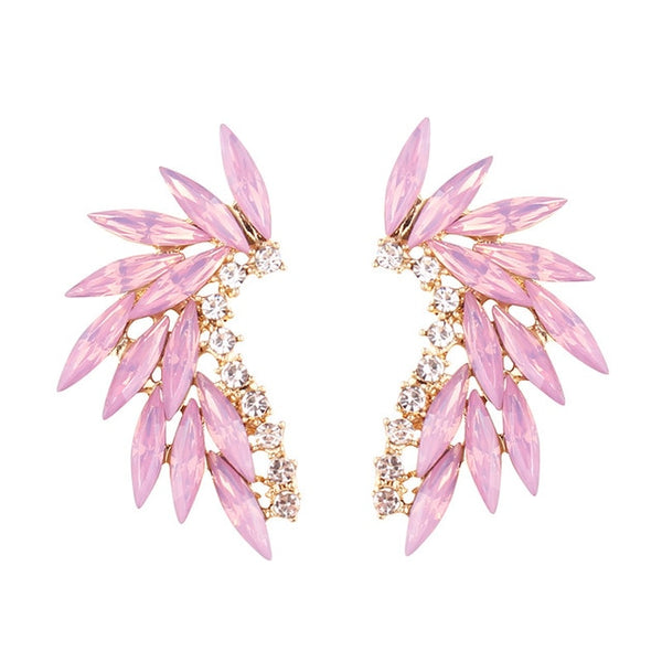 50s Powder Pink Cocktail Climbing Earrings - Ma Penderie Vintage