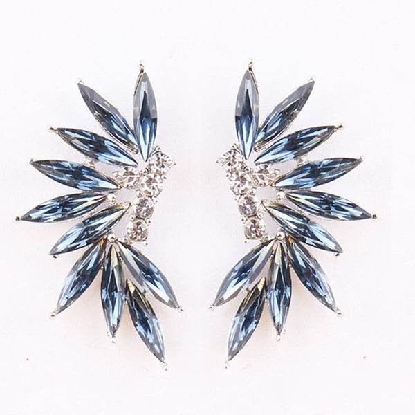 50s Blue Cocktail Climbing Earrings - Ma Penderie Vintage