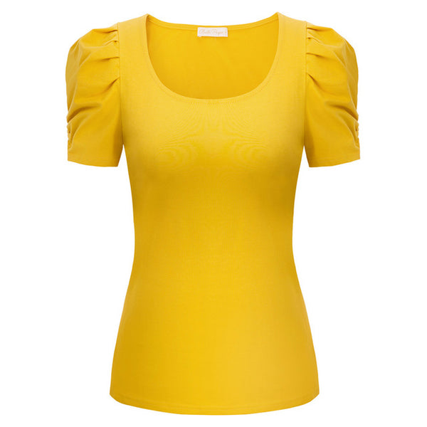 50s Balloon Sleeve Top Pin Up Yellow - Ma Penderie Vintage