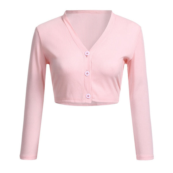 50s Classic Housewife Pink Short Cardigan - Ma Penderie Vintage
