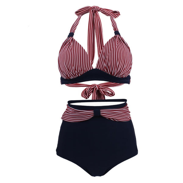60s Bettie Page Retro Swimsuit Black and Red Stripes - Ma Penderie Vintage