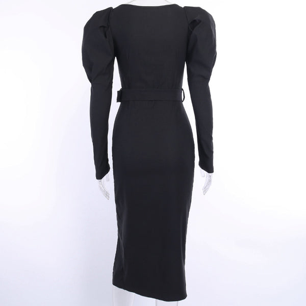 50s Black Vintage Pin-up Pencil Dress - Ma Penderie Vintage