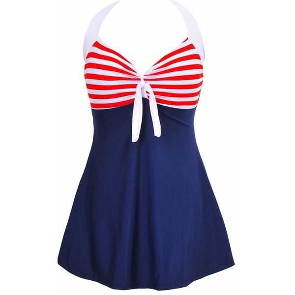 60s Retro Striped Babydoll Swimsuit Red - Ma Penderie Vintage