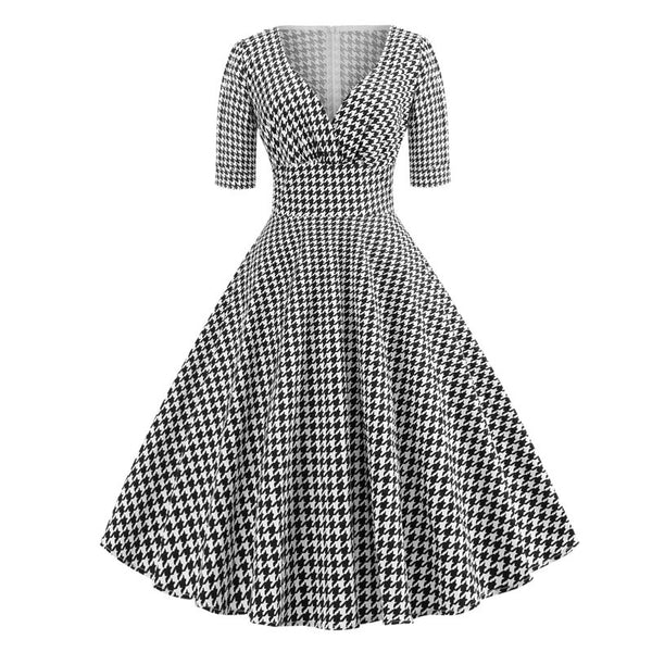 50s Pin Up Houndstooth Dress - Ma Penderie Vintage