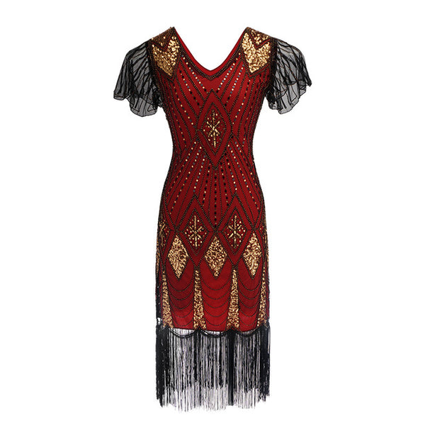 20s Art Deco Sequin Gatsby Dress Red - Ma Penderie Vintage