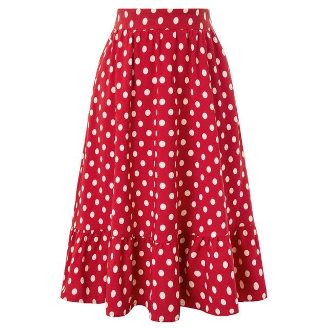 50s Polka Dot Skirt With Ruffles Class - Ma Penderie Vintage