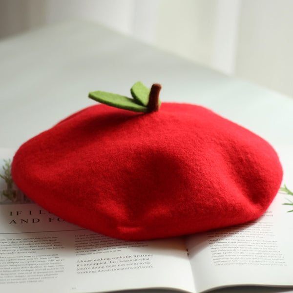 60s Red Cherry Retro Beret - Ma Penderie Vintage