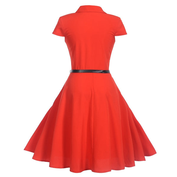 50s Rock a billy Red bowling dress - Ma Penderie Vintage