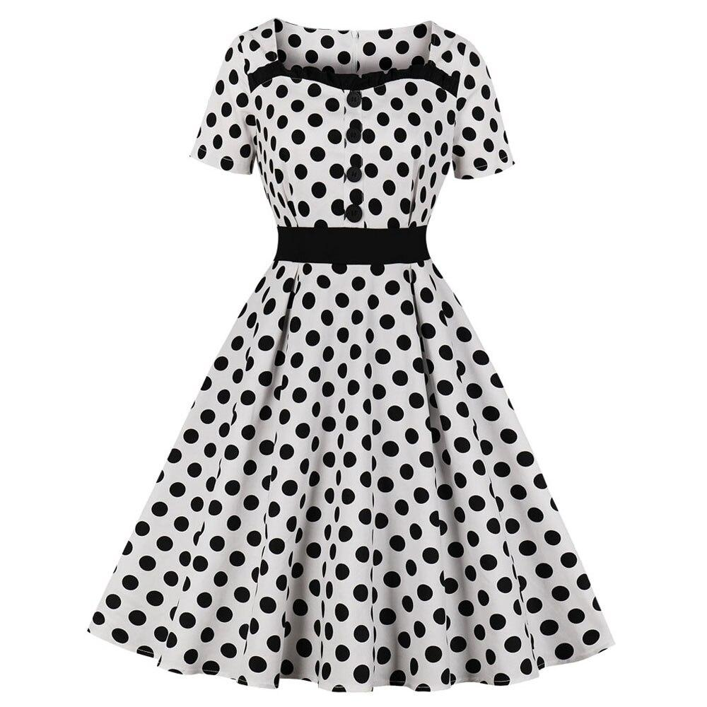 50s Pin Up Polka Dot Print Dress - Ma Penderie Vintage