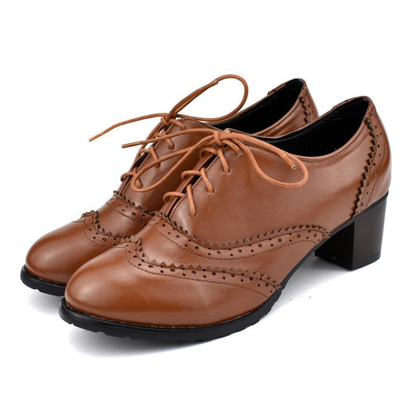 40s Brown Retro Oxford Shoes - Ma Penderie Vintage