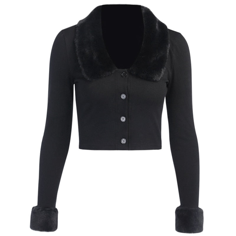 50s Pin Up Cardigan Black Faux Fur Collar - Ma Penderie Vintage