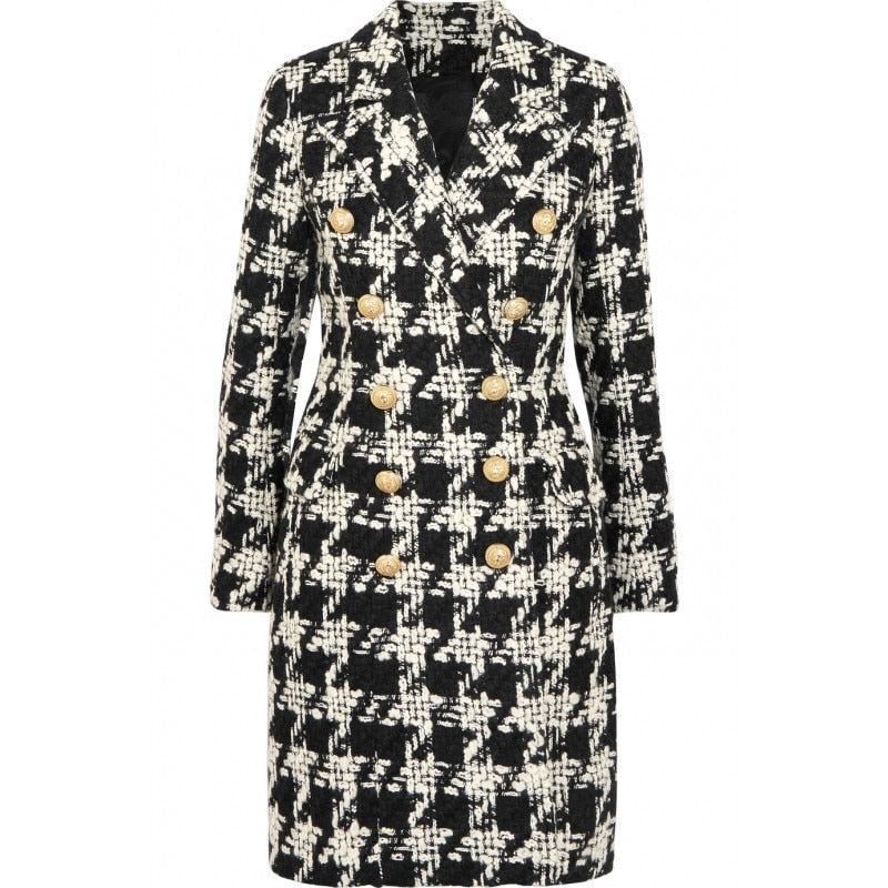 60s Retro Houndstooth Tweed Coat Black and White - Ma Penderie Vintage