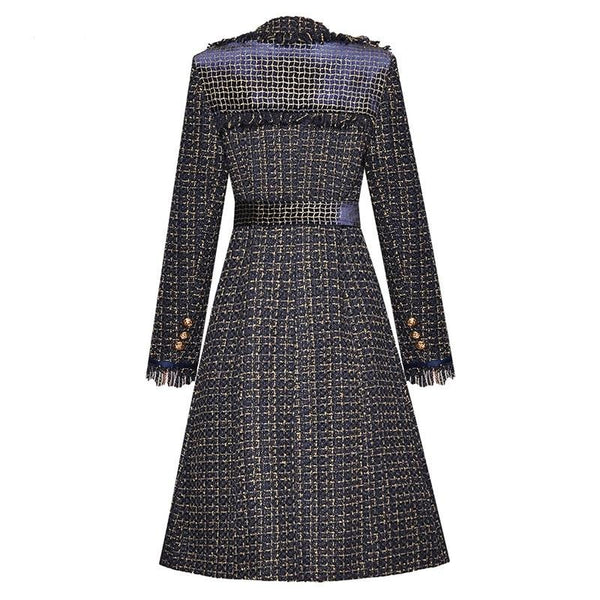 70s Chanel Tweed Coat Retro Embroidery Black and Navy Blue - Ma Penderie Vintage