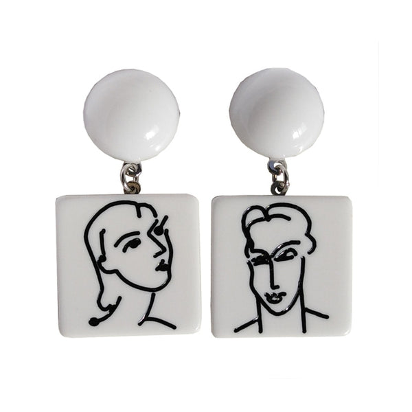 60s Black and White Retro Picasso Style Earring - Ma Penderie Vintage