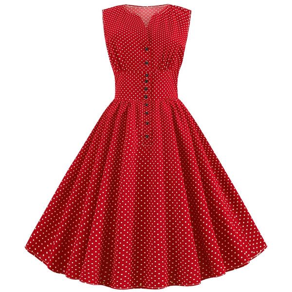 50s Retro Flared Polka Dot Pin Up Dress - Red - Ma Penderie Vintage