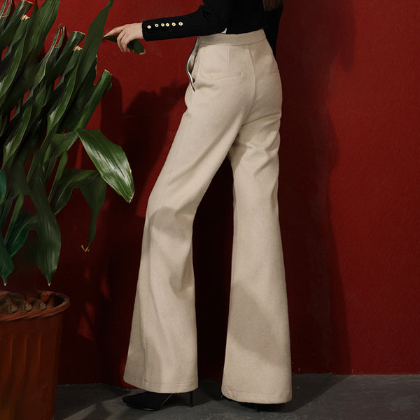 40s Retro High Waist Flared Trousers Beige - Ma Penderie Vintage