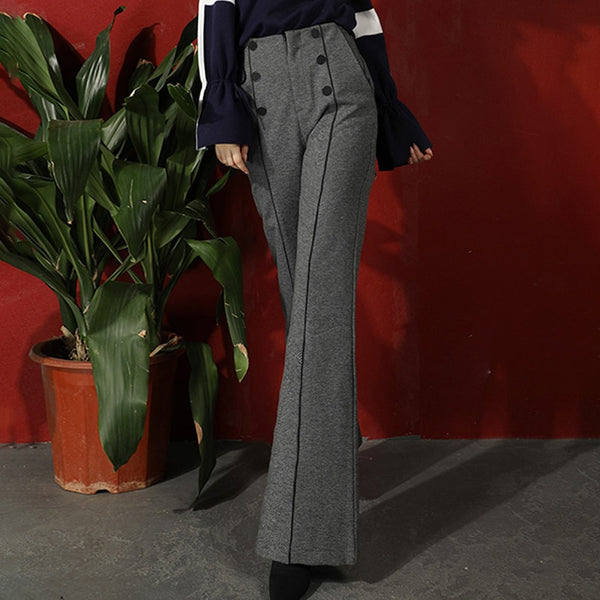 40s Retro High Waist Flared Trousers Gray - Ma Penderie Vintage