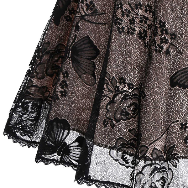 50s Gothic Butterfly Lace Flare Dress - Ma Penderie Vintage