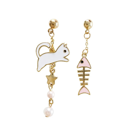 60s Arty Cat and Fish Earrings - Ma Penderie Vintage