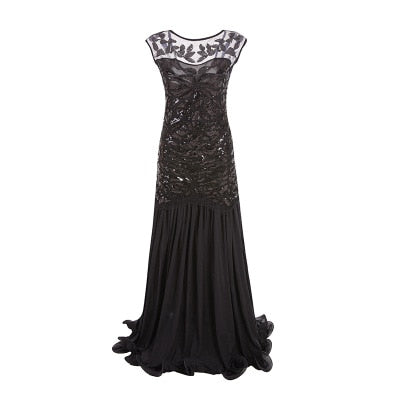 Thirties Long Evening Dress Roaring Twenties Gatsby Black - Ma Penderie Vintage