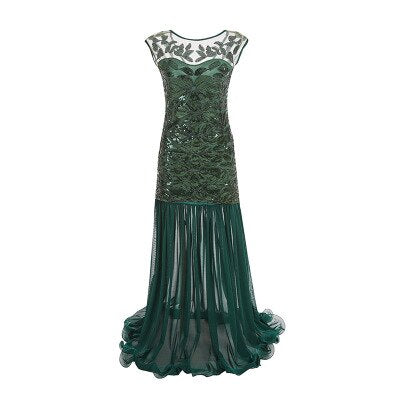 30's Long Evening Dress Roaring Twenties Gatsby Green - Ma Penderie Vintage