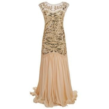 30's Long Evening Dress Roaring Twenties Gatsby Beige - Ma Penderie Vintage