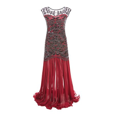 30's Long Roaring Twenties Gatsby Red Evening Dress - Ma Penderie Vintage