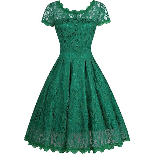 50s Retro Green Lace Evening Dress - Ma Penderie Vintage