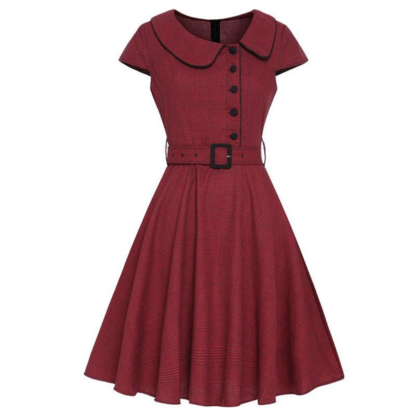 40s Checkered Dress Red Asymmetric Collar - Ma Penderie Vintage