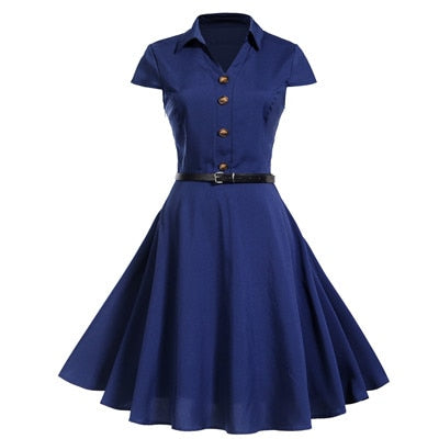 50s Rock a billy navy blue bowling dress - Ma Penderie Vintage