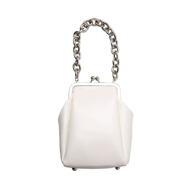 50s Small Vintage Synthetic Leather Bag White - Ma Penderie Vintage