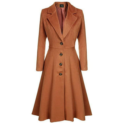 40s Vintage Flared Coat Pin Up Bettie Mocha - Ma Penderie Vintage