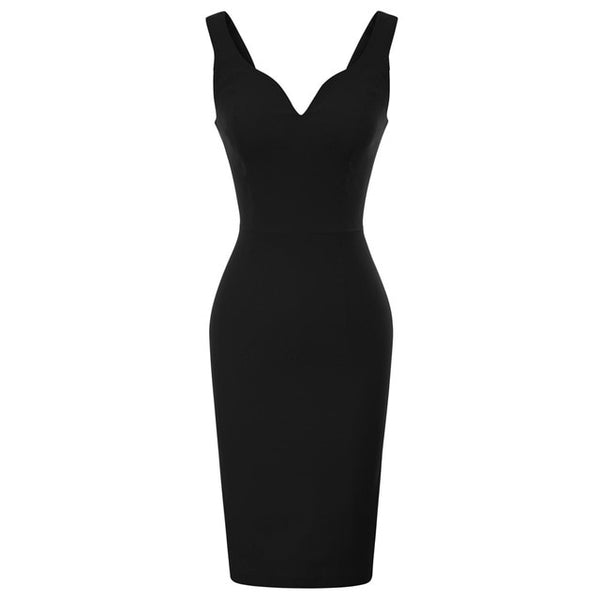 50s Black Pin Up Cocktail Pencil Dress - Ma Penderie Vintage