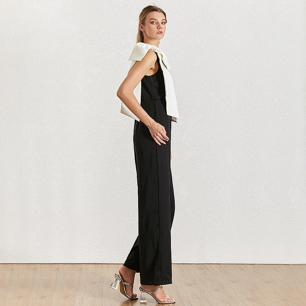 40s retro graphic jumpsuit black and white knot - Ma Penderie Vintage