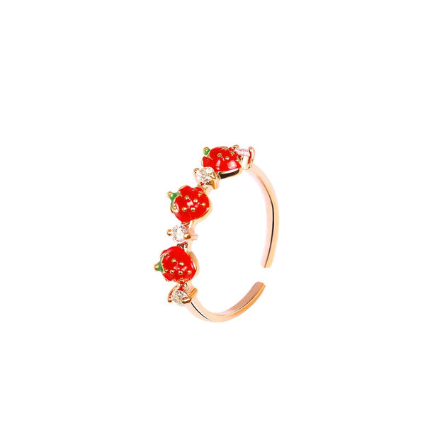 60s Gold Retro Strawberry Ring - Ma Penderie Vintage