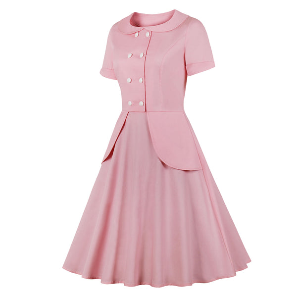 50s Retro Flare Dress Pink Layette - Ma Penderie Vintage