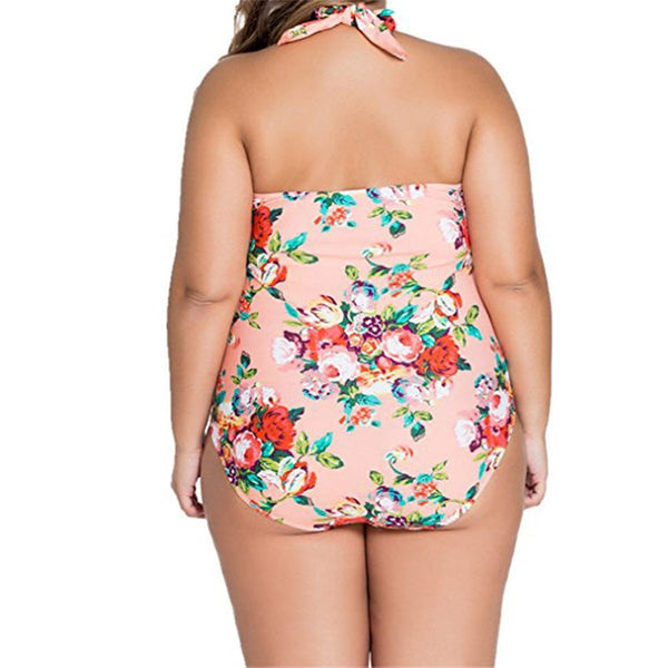 50s Large Size Floral Swimsuit Pink - Ma Penderie Vintage