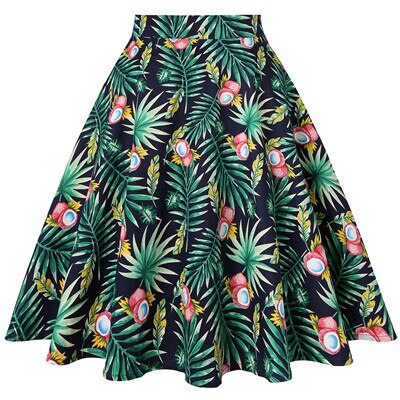 50s Rock A Billy Palm Leaf Print Skirt - Ma Penderie Vintage