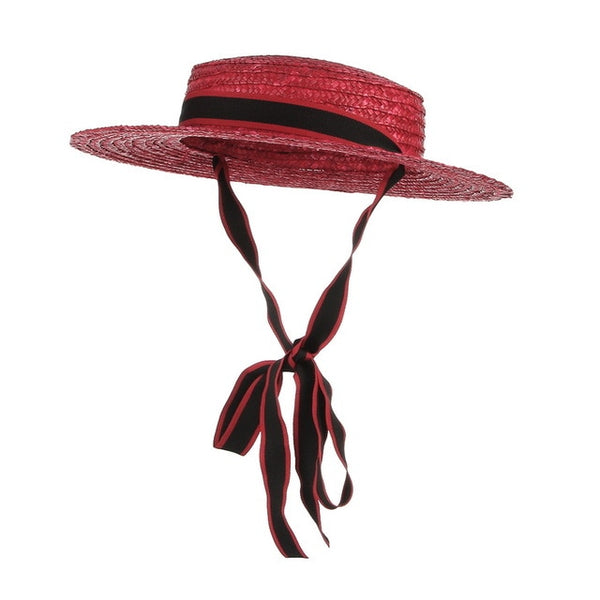 50s Mini Red Retro Straw Hat - Ma Penderie Vintage