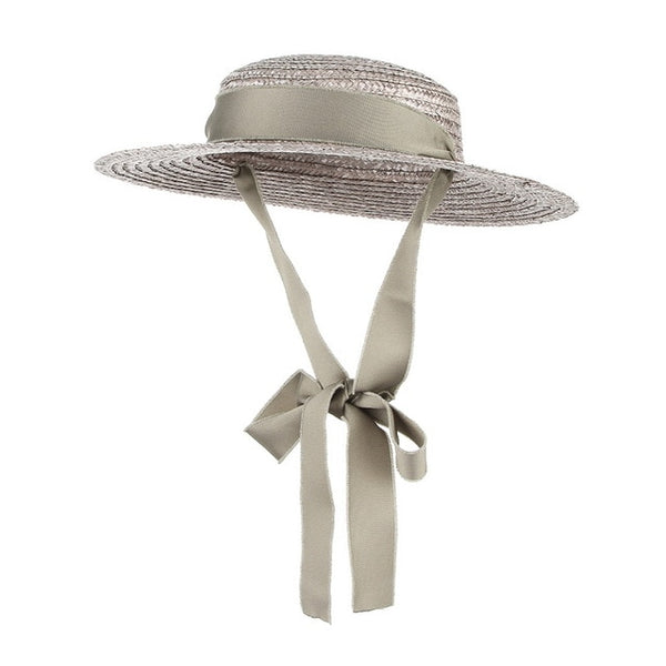 50s Mini Retro Straw Hat Taupe - Ma Penderie Vintage