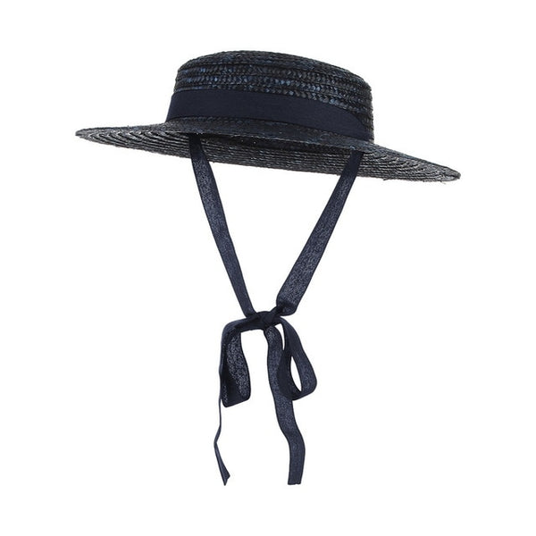 50s Mini Retro Straw Hat Navy Blue - Ma Penderie Vintage