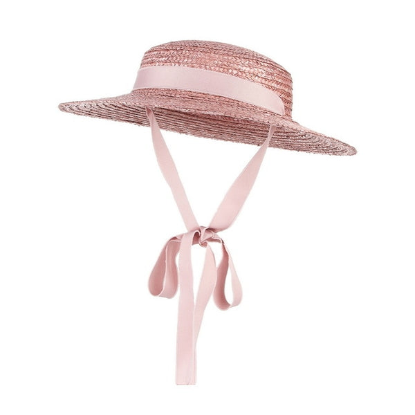 50s Mini Pink Retro Straw Hat - Ma Penderie Vintage