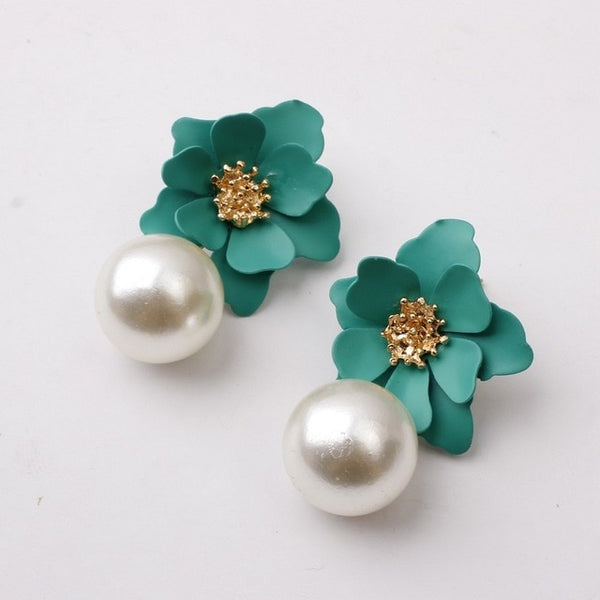 40s Retro Flower And Green Pearl Earrings - Ma Penderie Vintage