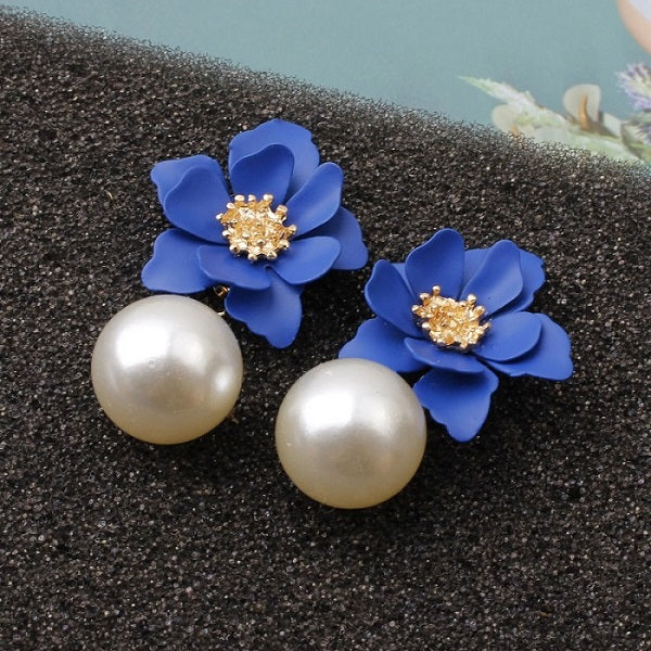 40s Retro Flower And Pearl Earrings Blue - Ma Penderie Vintage
