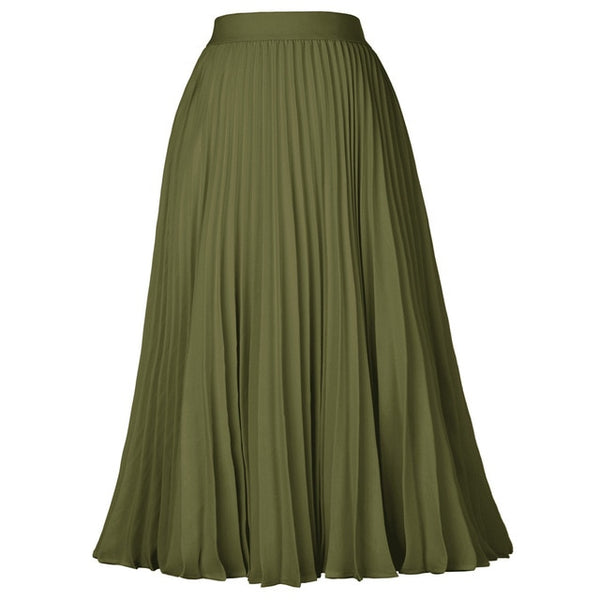 40s Pleated Midi Rock Skirt A Billy Military Green - Ma Penderie Vintage