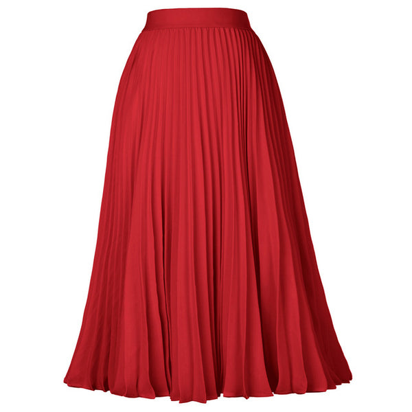 40s Pleated Midi Rock Skirt A Billy Red - Ma Penderie Vintage